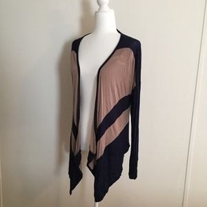 Anthropologie navy blue and tan cardigan